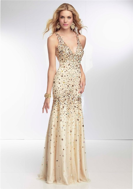 Mermaid V Neck Low Back Long Champagne Tulle Beaded Prom Dress ...
