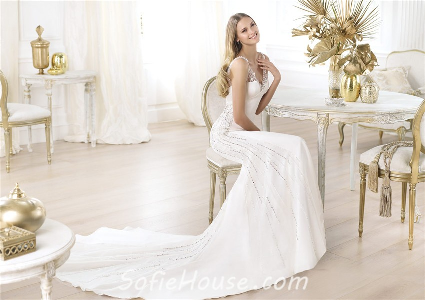 Simple Wedding Dresses Low Back: Sexy Mermaid V Neck Open Back Satin Beaded Wedding Dress