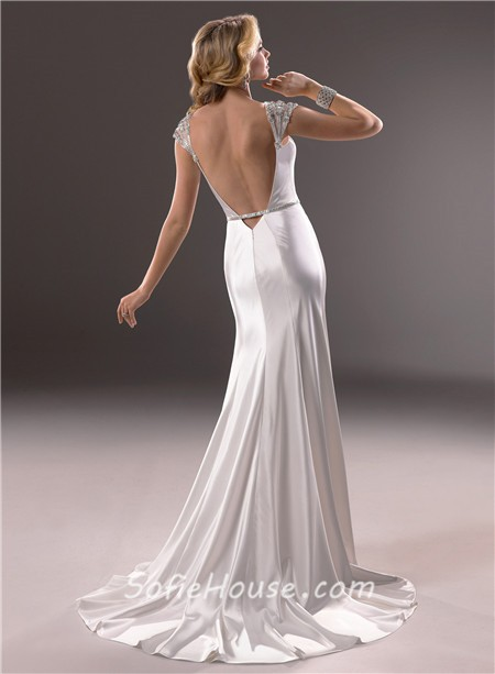 Sexy mermaid v neckline open back satin wedding dress with for Sexy open back wedding dress