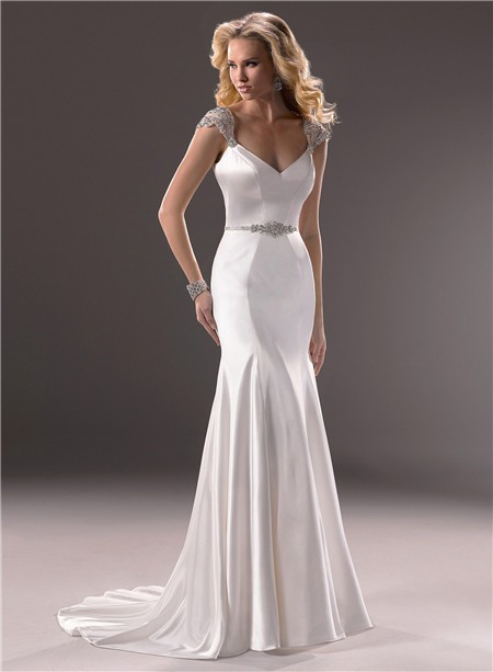 Sexy mermaid v neckline open back satin wedding dress with for V neck satin wedding dress