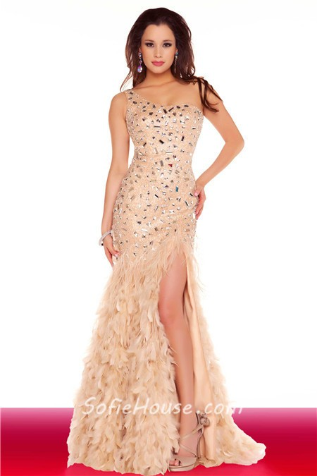 Sexy One Shoulder Backless Long Black Feather Beaded Prom Dress ...