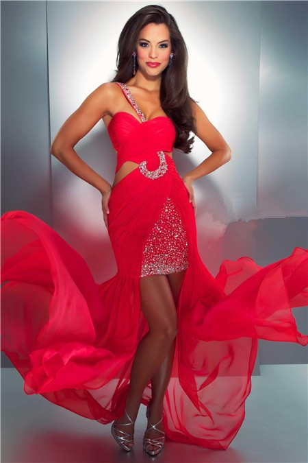 Sexy One Shoulder High Low Hem Side Cut Out Red Chiffon