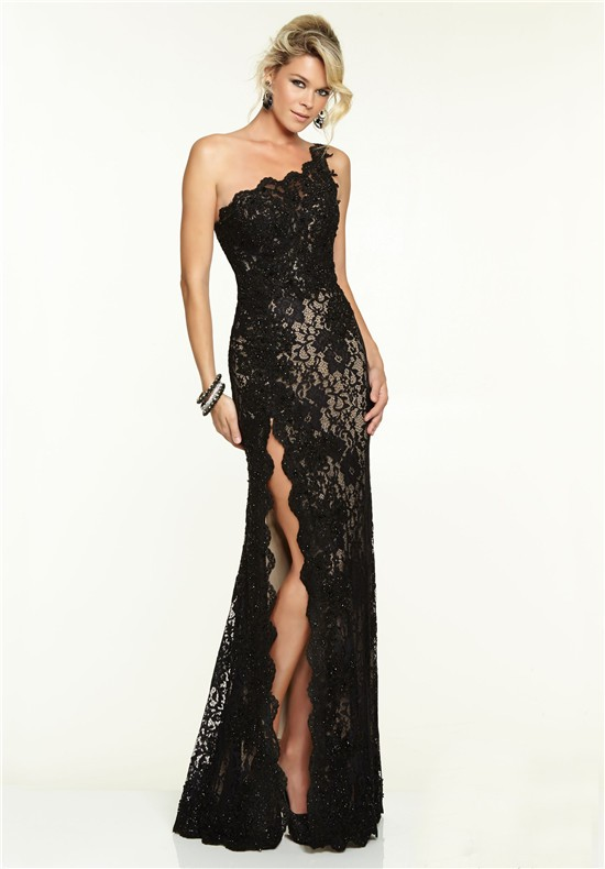 sexy one shoulder high slit long black lace beaded prom dress