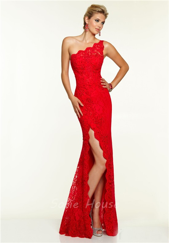 One shoulder red dress long