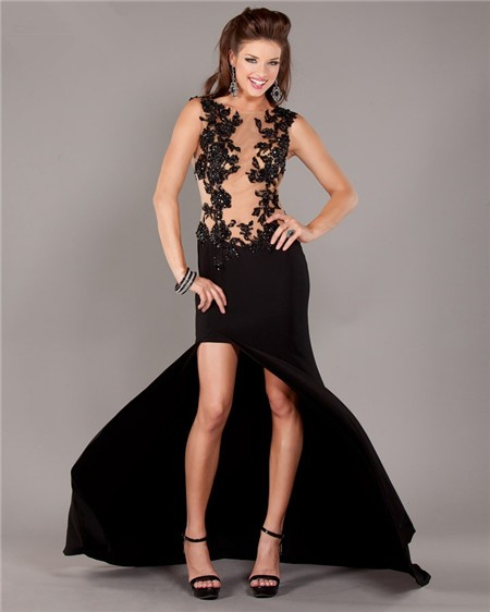 d543bbb14f5 Sexy See Through Tulle Black Chiffon Lace Beaded Prom Dress With Slit