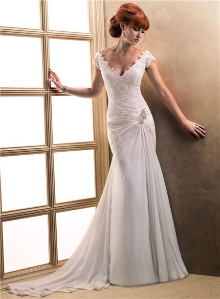 Sexy sheath cap sleeve deep v neck lace chiffon beach for Cap sleeve sheath wedding dress