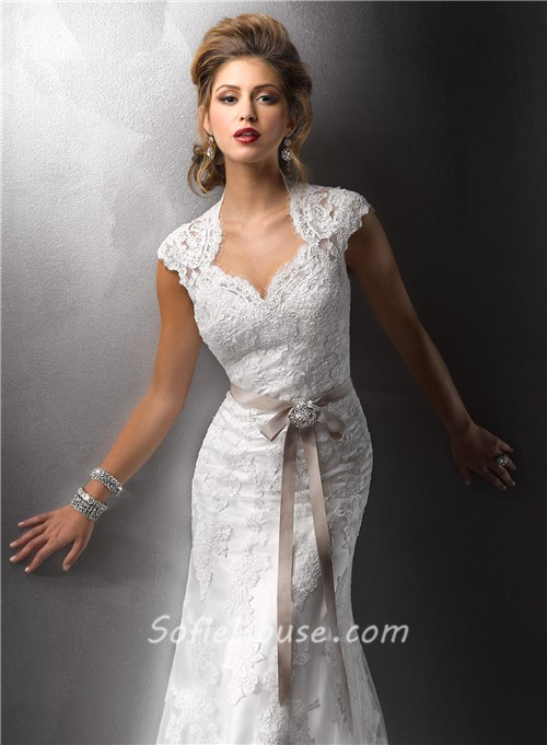 Sexy sheath cap sleeves vintage lace wedding dresses with for Wedding dress with sleeves and open back