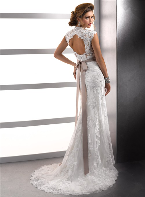 Lace Back Wedding Dress with Cap Sleeves