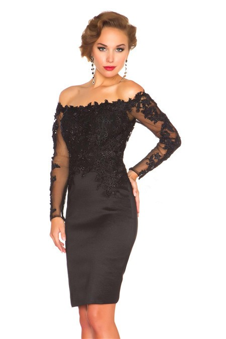 Sheath Column Off The Shoulder Short Black Satin Lace Sleeve ...