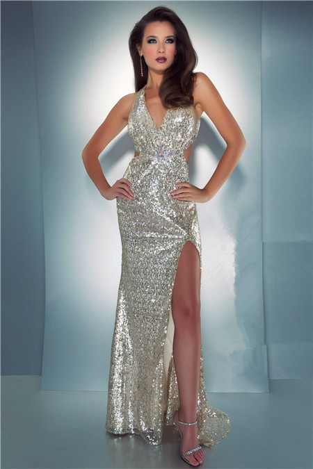 278b2cdcfb Sexy Sheath Halter Backless Side Cut Out Slit Long Champagne Sequin Prom  Dress