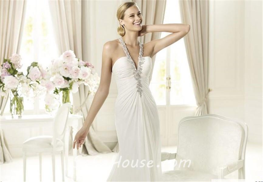 Sexy Sheath Halter Low Back Ruched Chiffon Beaded Wedding Dress f1a70fff9