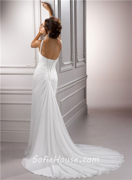 Sexy sheath jeweled halter ruched chiffon wedding dress for Around the neck wedding dresses