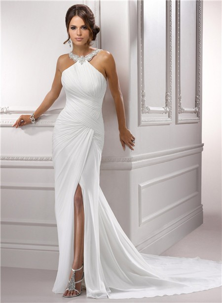 Sexy Sheath Jeweled Halter Ruched Chiffon Wedding Dress With Slit