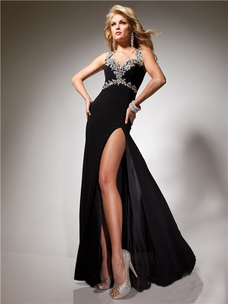 156a764bdc Sexy Sheath Long Black Chiffon Prom Dress With Open Back Beading Crystals  Straps