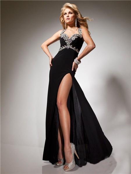 bef4c3cca6e2 Sexy Sheath Long Black Chiffon Prom Dress With Open Back Beading Crystals  Straps