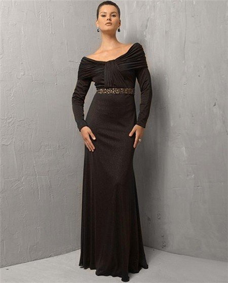 f7979c5d0c73 Sexy Sheath Off The Shoulder Long Black Chiffon Evening Dress With Long  Sleeve