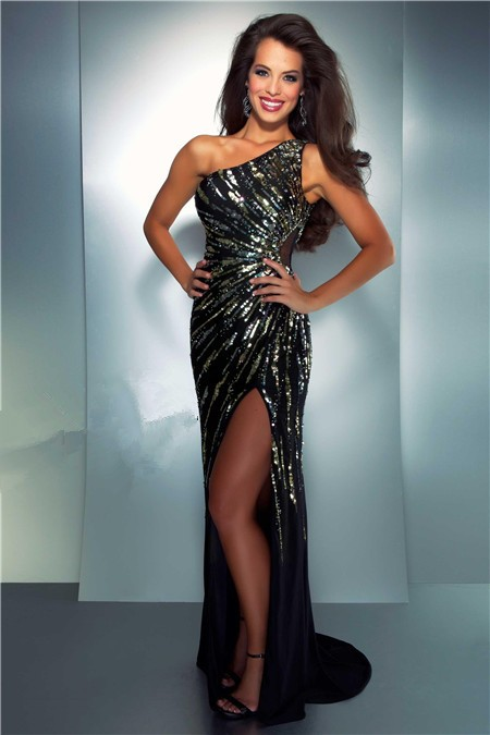 Sheath One Shoulder Long Black Chiffon Gold Silver Sequin Prom ...