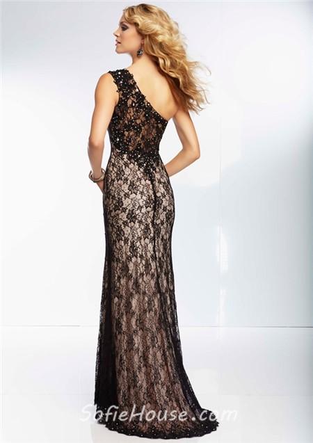 One shoulder black lace long dress