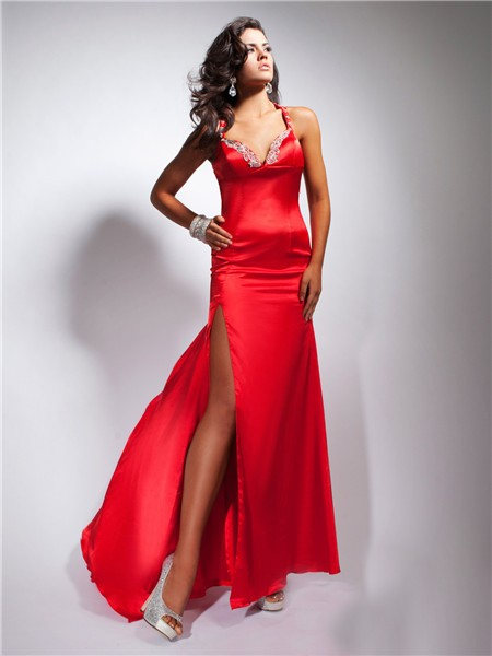 Sheath Sweetheart Backless Long Red Silk Prom Dress With Straps ...
