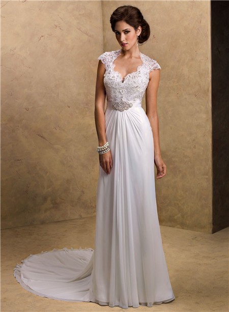 Sheath Sweetheart Cap Sleeve Open Back Lace Chiffon Wedding Dress