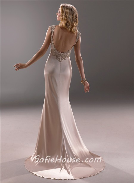 Sexy sheath sweetheart champagne colored satin beaded for Sexy open back wedding dress