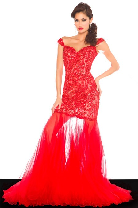 sexy sheath sweetheart off the shoulder long red tulle