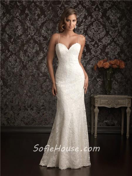 Y Sheath Sweetheart Spaghetti Straps Lace Destination Wedding Dress Backless