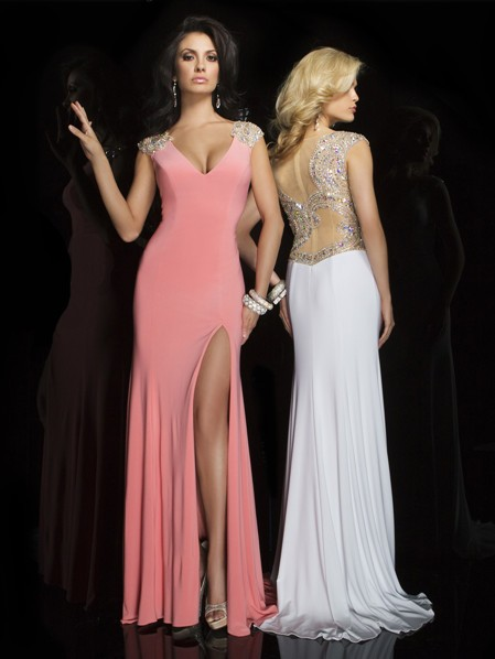 Long Coral Chiffon Dress
