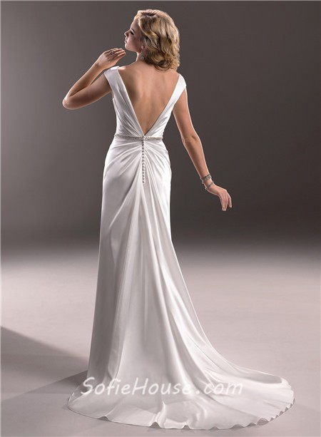 Sexy sheath v neck low back satin wedding dress with for V neck satin wedding dress