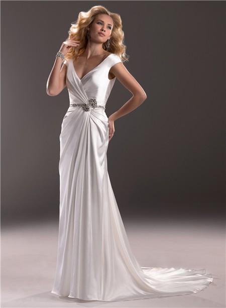 Sexy sheath v neck low back satin wedding dress with for Satin low back wedding dress