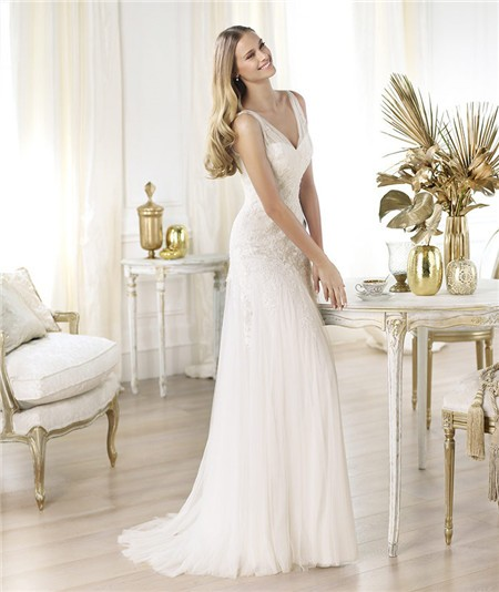 Home » Sexy Sheath V Neck Sheer Straps Tulle Wedding Dress With Lace ...