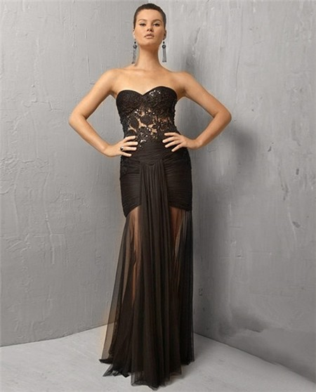 Sexy Sheer Mermaid Strapless Long Black Lace Tulle Evening Wear Dress