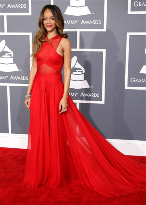 sexy sheer red chiffon rihanna grammys 2013 red carpet