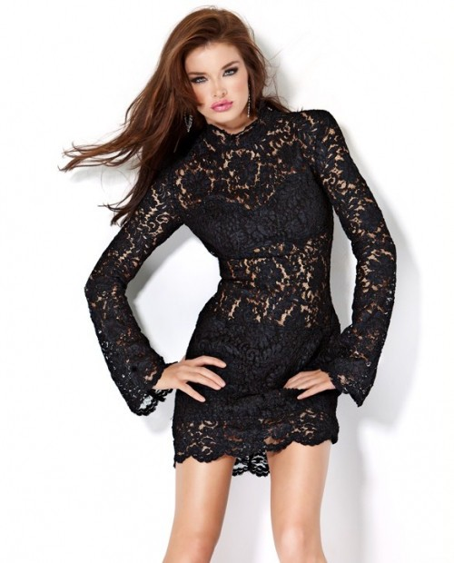 Sheer Short/Mini Little Black Lace Club Cocktail Dress With Sleeves