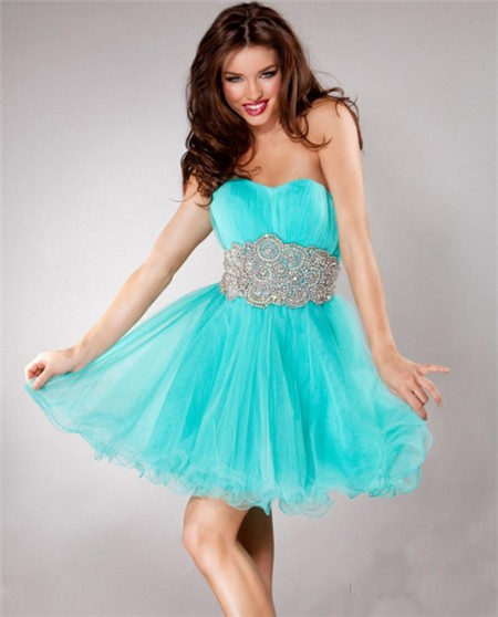 Short Low Back Aqua Blue Tulle Beaded Sweet Sixteen Cocktail Party ...