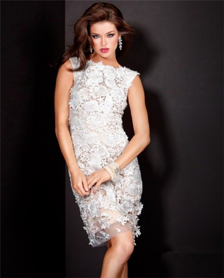 Short Nude Satin White Lace Wedding Party Guest Cocktail Dress