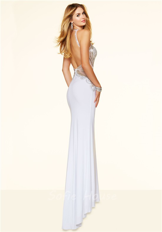 Sexy white backless dress