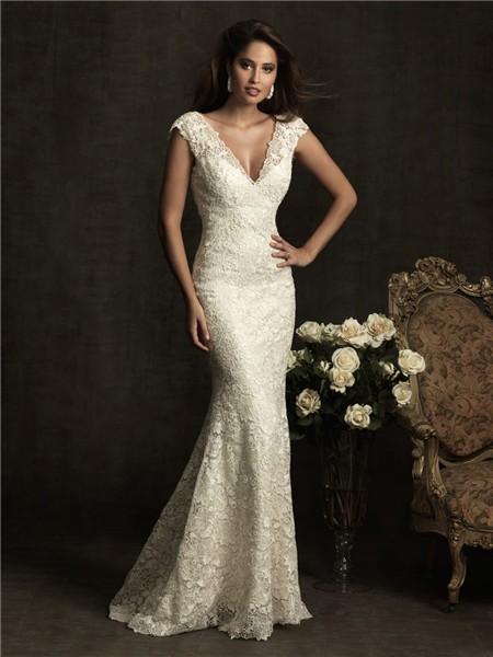 Sexy slim mermaid cap sleeve v neck low back ivory venice for Low cut mermaid wedding dress