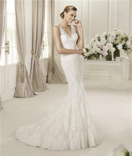 Sexy Slim Mermaid Deep V Neck Vintage Lace Wedding Dress