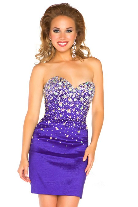 Strapless Short/ Mini Lavender Purple Satin Beaded Homecoming Prom ...