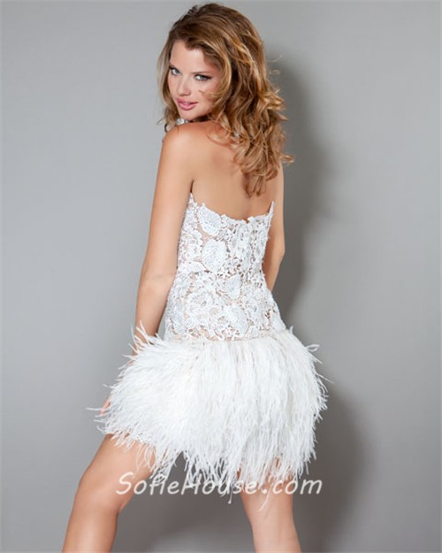 Sexy Strapless Short/Mini White Feather Lace Party Cocktail Dress