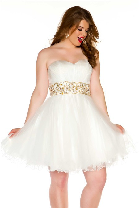 sexy strapless short white tulle gold beading plus size cocktail prom dress. Black Bedroom Furniture Sets. Home Design Ideas