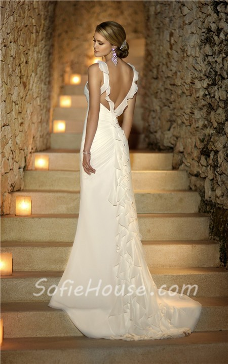 Sexy summer sweetheart backless chiffon ruched wedding for Sexy summer wedding dress