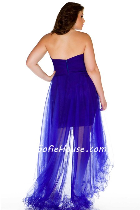 Sexy Sweetheart High Low Royal Blue Tulle Beaded Prom