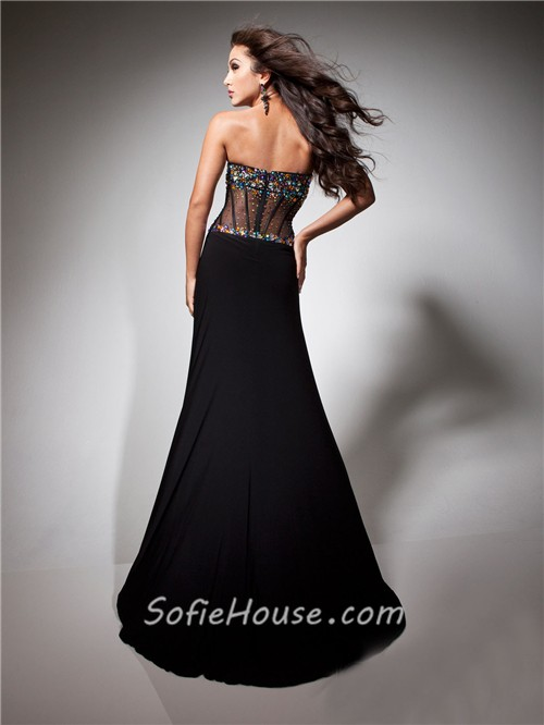 Sexy Sweetheart Sheer Long Black Chiffon Tulle Beaded Corset Prom ...