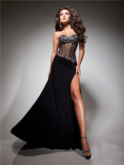 Sweetheart Sheer Long Black Chiffon Tulle Beaded Corset Prom Dress ...