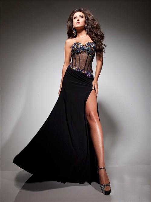 Sexy Sweetheart Sheer Long Black Chiffon Tulle Beaded ...
