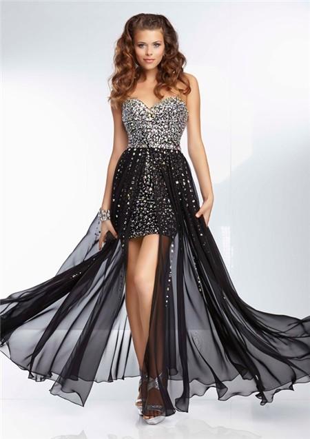 Short mini black chiffon beaded prom dress with detachable skirt