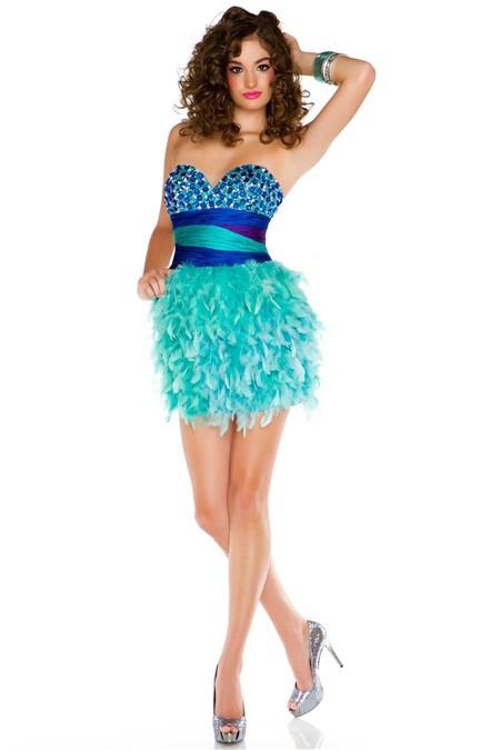 Sweetheart Short/ Mini Blue Beaded Aqua Feather Prom Cocktail Dress
