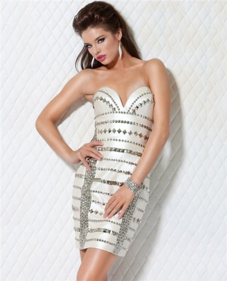949f2c6232 Sexy Sweetheart Short Mini White Silver Beaded Club Cocktail Party Dress